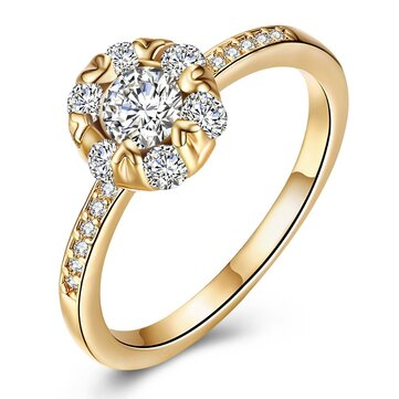 INALIS Copper Gold Plated Women Rings Heart Zircon Engagement Wedding Finger Ring