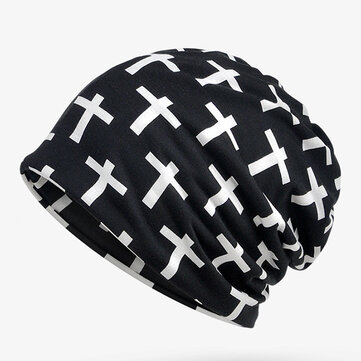 Cross Cotton Beanie Cap Ring Scarf Hip-hop Collar Neck Scarves Hats Multi-function For Woman and Man