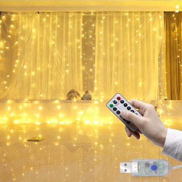 LUSTREON 3M*3M USB 15W IP67 8 Modes Remote Control 300LED Curtain Fairy String Holiday Light DC5V