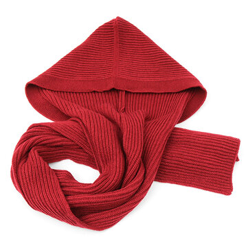 Women Winter Soft Woolen Hooded Hat Scarves Casual Warm Knitted Conjoined Cap