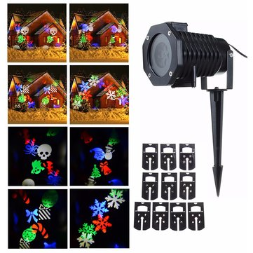 Waterproof RGB 10 Pattern LED Moving Halloween Christmas Decoration Projector Stage Light