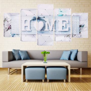 5 Panels White Love HOME Wall Art Print Pictures Canvas Wall Art Painting Unframed For Home Decoration