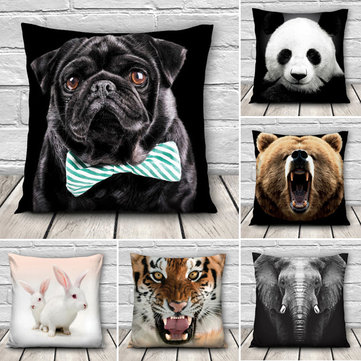 3D Animal Patterns Throw Pillow Case Sofa Office Car Cushion Cover Home Decor