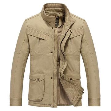 Chaqueta de bolsillo gruesa para hombre, chaqueta de bolsillo, moda Delgado Chaqueta de abrigo de invierno suelta,