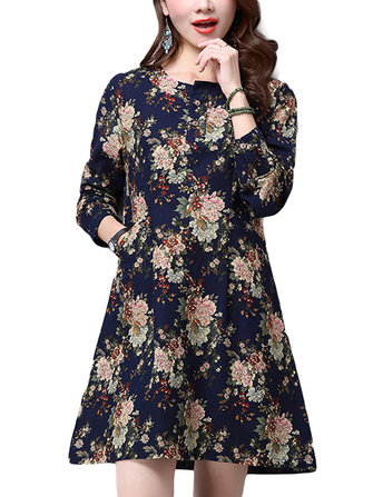 Folk Style Casual Women Pocket Floral Printed Flax Linen Straight Dress
