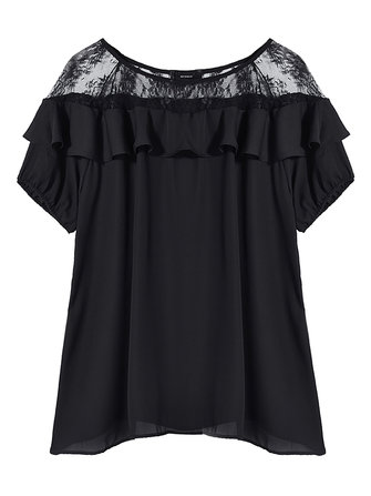 Sexy Women Lace Stitching Pleated T-shirt