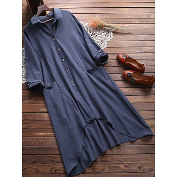 Plus Size Casual Women Turn-down Collar Cotton Long Blouse