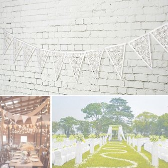 8M 16Pieces Wedding Retro White Lace Confetti Banner Party Floral Triangle Flag Decoration
