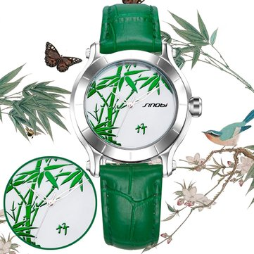 SINOBI 9632 Green Bamboo Leather Strap Women Watches