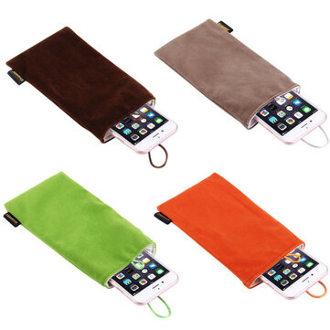 HAWEEL Universal 5.5 Inch Phone Power Bank Electronic Storag Velvet Bundle Pocket Flannel Bag