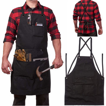 Heavy Duty Waxed Canvas Work Hobby Apron Large Pocket Fits Small to XXL Black