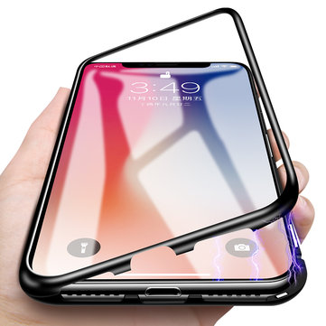 Bakeey 360° Magnetic Adsorption Metal Glass Protective Case for iPhone X/8/8 Plus/7/7 Plus/6s/6s Plus/6/6 Plus