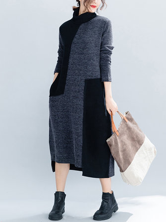 Women Casual Two-tone Patchwork Turtle Neck Knit Winter Dress