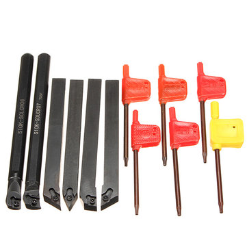 6Pcs 10mm Shank Lathe Indexable Boring Bar Turning Tool Holder Set