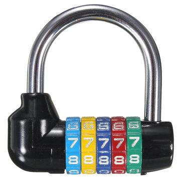 Resettable 5 Digit Password Combination Padlock Security Lock School Cabinet Locker
