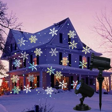 5W White LED Remote Control Snowstorm Laser Christmas Projector Landscape Stage Light AC100-240V