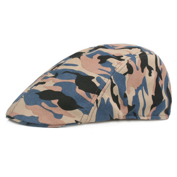 Men Women Summer Cotton Camouflage Mesh Beret Caps Adjustable Newsboy Visors Sun Hat