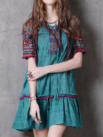 Women Printed Short Sleeve Ethnic Mini Dresses