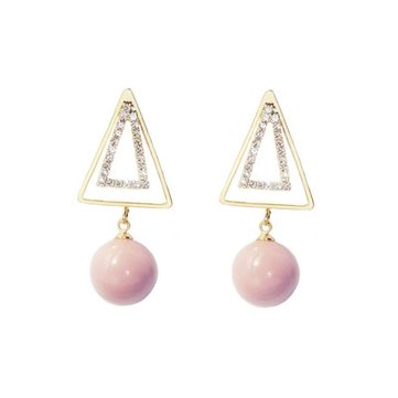 Sweet Ear Drop Earring Double Gold Triangle Pink Artificial Pearls Pendant Earrings for Women