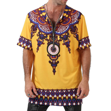 Ethnic Printed Loose Men's Short-sleeved T-shirts Summer Fashion Zipper V Neck Casual Tops
