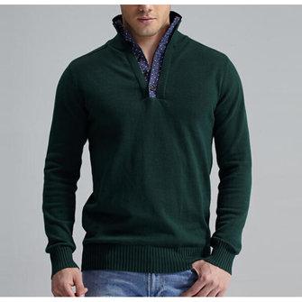 เสื้อกันหนาวบุรุษแบบทึบถักโครเมี่ยมแบบทึบบางPulloverLongแขนเสื้อdPullover