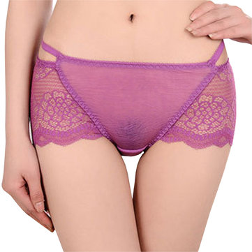 Sexy Lace See Through Low Rise Wave Cut Panties