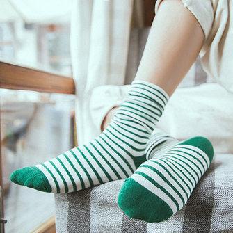 Women Cotton Stripe Socks Harajuku Style Breathable Soft Vintage Mid Calf Socks
