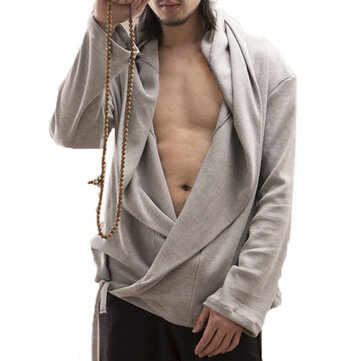 Mens Retro Irregular Crossbody Draped Loose Knitting Hoodies
