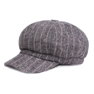 Women Vintage Winter Stripe Cotton Flat Hat