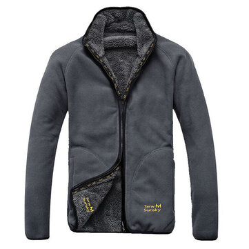Mens Polar Fleece Reversible Thick Warm Winter Jacket