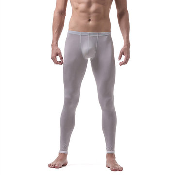 Mens Ice Silk Long Johns Thin Translucent Thermal Underwear Sleepwear Bottoms