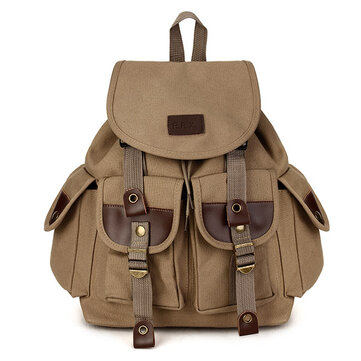 Vintage Men's Backpack Canvas PU Hiking Couples Travel Military Satchel School Bag