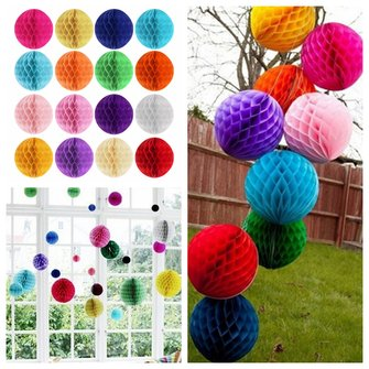 6'' 15CM Tissue Paper Pom Poms Honeycomb Ball Lantern Wedding Party Home Table Decor