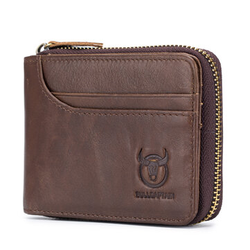 Bullcaptain Zip Around Wallet RFID Blocking Secure Leather Card Holder Wallet for Men