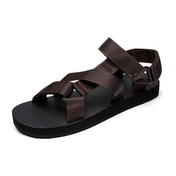 Men Comfy Breathable Cloth Hook Loop Outdoor Sandals