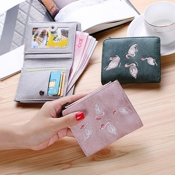 Women Quality PU Leather Embroidery Pattern Short Wallet Card Holder