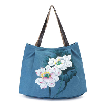 Brenice Women Hand Painted Floral Handbag Shoulder Bag