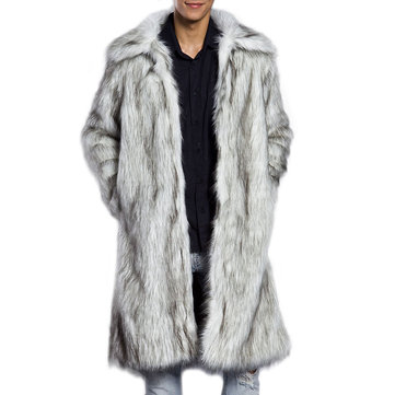 Mens Winter Warm Faux Fur Coat Turn down Collar Mid-long Casual Jacket