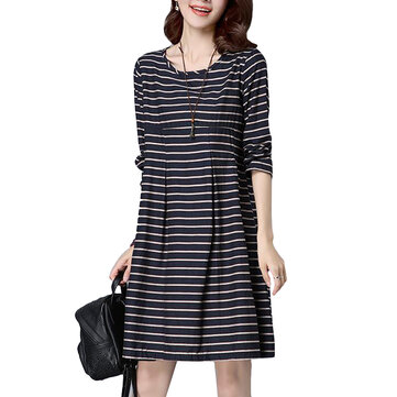 Casual Women Stripe Long Sleeve Loose Elegant Waist Dress