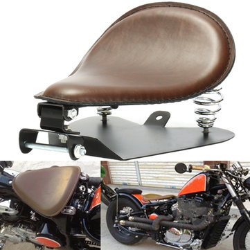 Brown Leather Seat Barrel Spring For Harly Sportster Bobber Chopper 883 1200