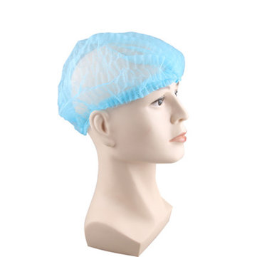 100pcs Non Woven Disposable Hair Shower Cap Pleated Anti Dust Lab Hat White Blue