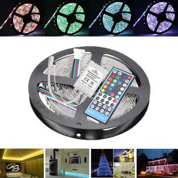 5M SMD5050 RGBW Waterproof 300 LED Strip Tape Rope Light Kit + 40 Keys IR Remote Controller DC12V