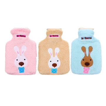 21x14cm Portable Hot Water Bottle Bag Creative Cute Cartoon Rabbit Hand Warmer