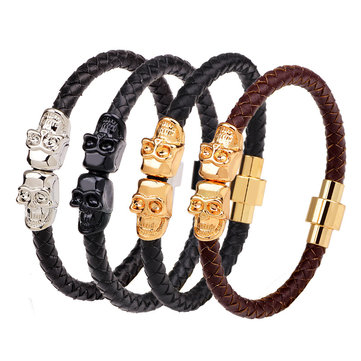 Retro Gold Men's Skull Bangle Bracelet Multicolor Leather Chain Bracelets