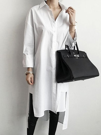 Women Buttons Down Lapel Irregular Shirt Dress