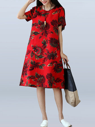 Vintage Women Floral Printed Short Sleeve Dress
