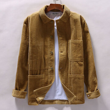 Mens Corduroy Winter Loose Button Fly Thick Warm Vintage Long Sleeve Coats