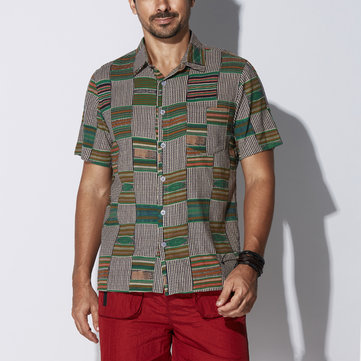 Mens Big Size Loose Green Ethnic Style Summer Hawaiian Shirt