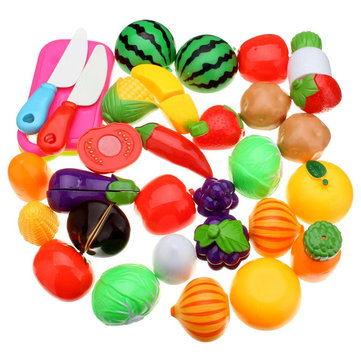 20PCS Fun Cut Fruit Vegetables Kitchen Play Set Cutting Pieces Role Play Kids Toy