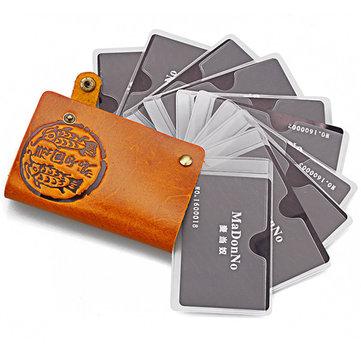 Женщины Мужчины Подлинная Virgin Кожа 10 Кредитные карты держатель ID Bus Card Case Короткие бумажники